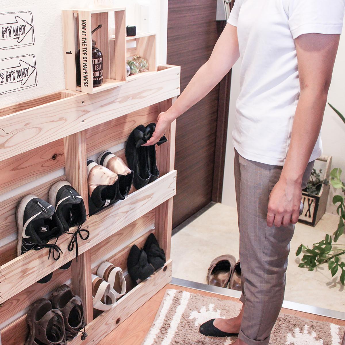 DIY FACTORY かさばる靴をスッキリ収納!パレットで作るシューズラック